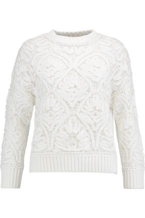 VICTORIA, VICTORIA BECKHAM Embroidered cotton sweater