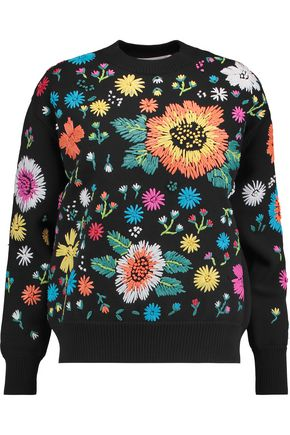 VICTORIA, VICTORIA BECKHAM Bonanza raffia-embellished knitted sweater