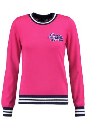 LOVE MOSCHINO Embellished knitted cotton sweater