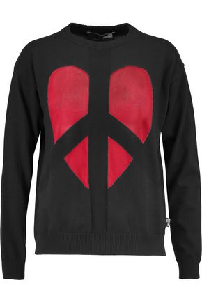 LOVE MOSCHINO Two-tone intarsia cotton sweater