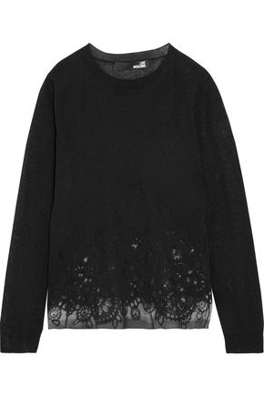 LOVE MOSCHINO Burnout cotton-blend sweater