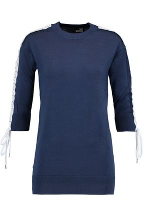 LOVE MOSCHINO Lace-up stretch-knit sweater