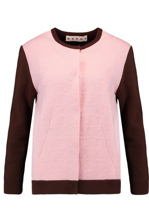 MARNI Jacquard knit-paneled cotton-blend stretch-knit cardigan