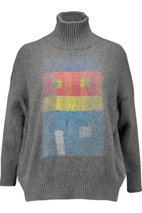 MARNI Printed cashmere and silk-blend turtleneck sweater