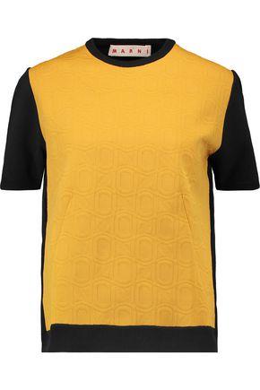 MARNI Jacquard knit-paneled cotton-blend stretch-knit top