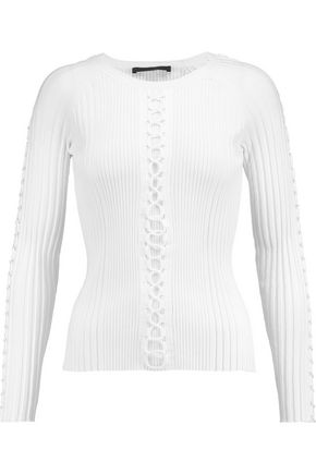 ALEXANDER WANG Lace-up ribbed cotton-blend top