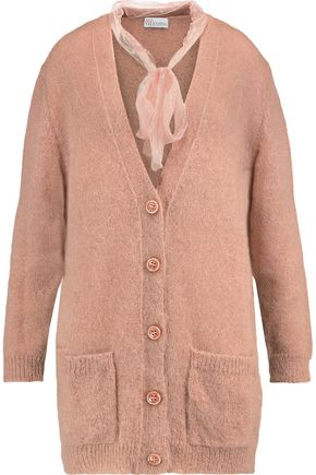 REDValentino Swiss-dot mesh-trimmed mohair-blend cardigan