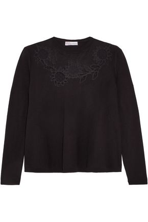 REDValentino Embroidered mesh-trimmed knitted sweater