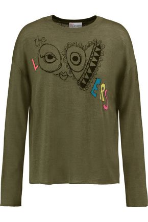 REDValentino Jacquard wool, silk and cashmere-blend sweater