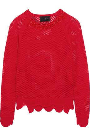 SIMONE ROCHA Embellished open-knit merino wool, silk and cashmere-blend sweater