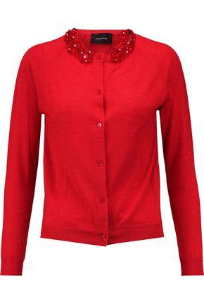 SIMONE ROCHA Crystal-embellished merino wool, silk and cashmere-blend cardigan