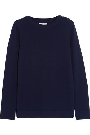 CHINTI AND PARKER Faux suede-trimmed merino wool sweater