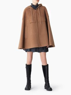 Hooded woollen cape