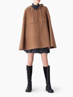 Cape en laine à capuche