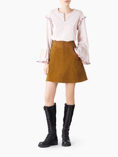 Mini jupe trapèze en velours