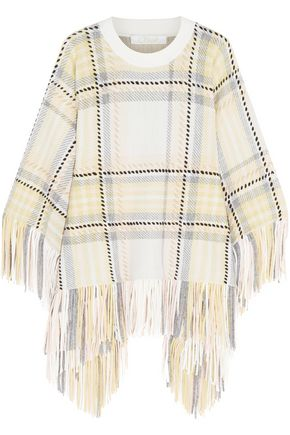 CHLOÉ Fringed wool and cashmere-blend jacquard poncho