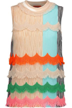 MISSONI Frayed crochet-trimmed stretch wool-blend top