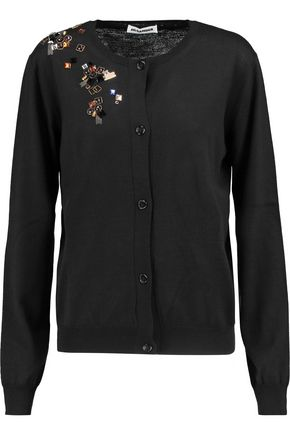 JIL SANDER Embellished wool cardigan