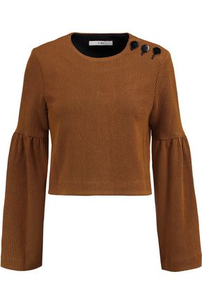 TIBI Cropped ribbed-knit sweater