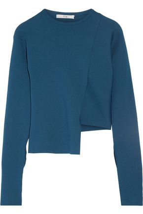 TIBI Asymmetric ribbed-knit sweater