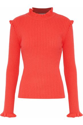 DEREK LAM 10 CROSBY Ruffle-trimmed ribbed cashmere sweater
