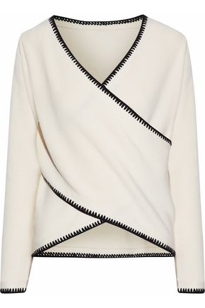 DEREK LAM 10 CROSBY Wrap-effect cotton and cashmere-blend sweater