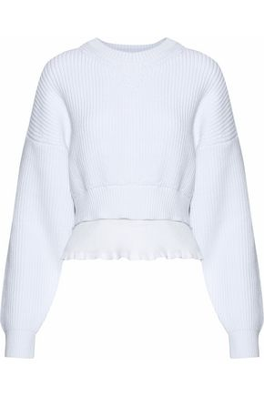 ALEXANDER WANG Layered ribbed-knit cotton-blend sweater