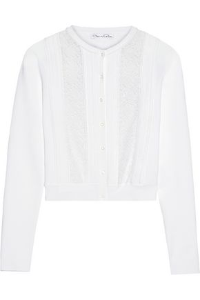 OSCAR DE LA RENTA Lace-paneled stretch-knit cardigan
