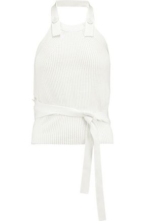 HELMUT LANG Ribbed cotton halterneck top