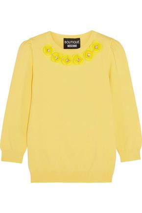 BOUTIQUE MOSCHINO Crystal-embellished appliquéd jersey sweater