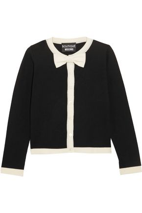 BOUTIQUE MOSCHINO Bow-embellished wool and cotton-blend cardigan