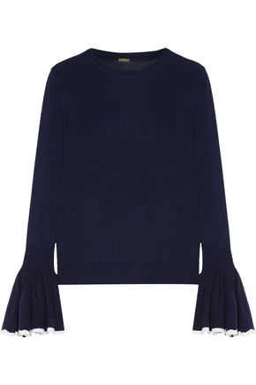 ADAM LIPPES Ruffled two-tone merino wool sweater