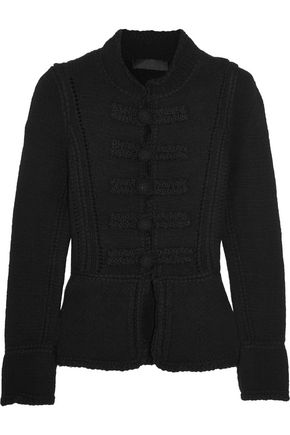 CO Pointelle-trimmed wool cardigan