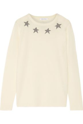 BELLA FREUD Star Spangle metallic intarsia cashmere-blend sweater