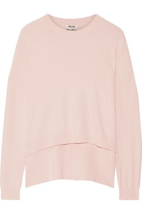 ACNE STUDIOS Issy cropped ribbed cotton-blend sweater