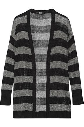 KARL LAGERFELD Striped metallic stretch-knit cardigan