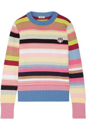KENZO Appliquéd striped cotton-blend sweater