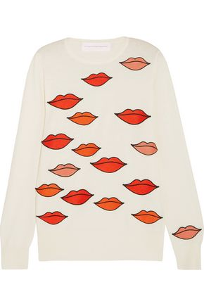 VICTORIA, VICTORIA BECKHAM Appliquéd wool and cotton-blend sweater