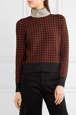GANNI Loras embellished jacquard-knit turtleneck sweater