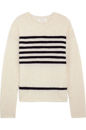 FRAME Striped stretch-knit sweater