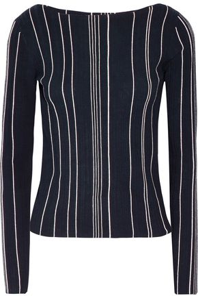 THEORY Striped ribbed stretch-knit top