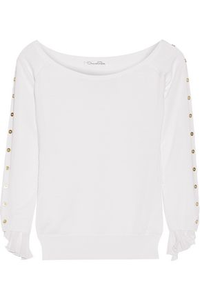 OSCAR DE LA RENTA Off-the-shoulder chiffon-trimmed wool and silk-blend sweater