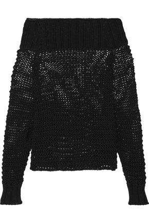 CALVIN KLEIN COLLECTION Ebner off-the-shoulder cable-knit cotton sweater