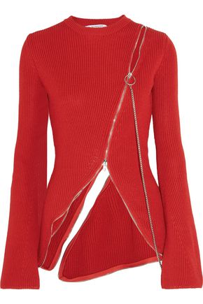 GIVENCHY Zip-detailed ribbed cotton-blend sweater