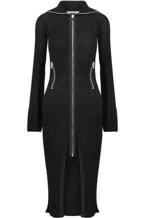 GIVENCHY Satin-trimmed ribbed stretch-knit cardigan