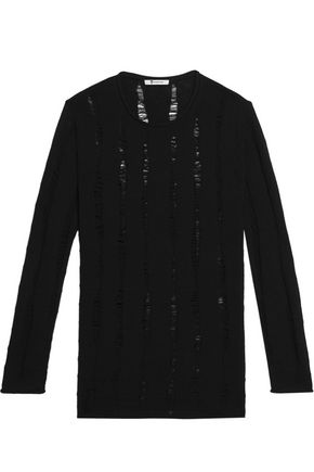 T by ALEXANDER WANG Open knit-trimmed merino wool sweater