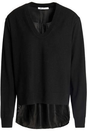 T by ALEXANDER WANG Satin-paneled merino wool sweater