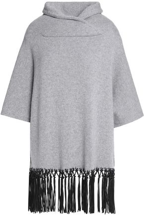 AGNONA Fringed leather-trimmed cashmere sweater