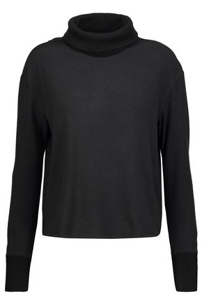 ALICE + OLIVIA Hyde split-back wool-trimmed jersey turtleneck top
