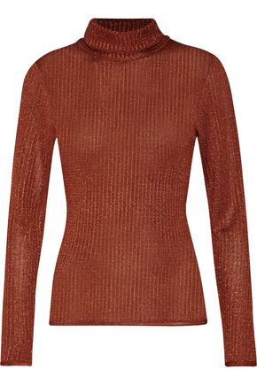 ALICE+OLIVIA Billi metallic stretch-knit turtleneck sweater